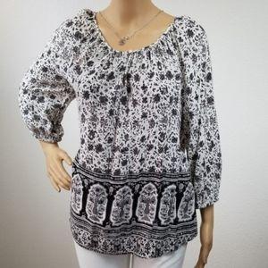 Lucky Brand | black and white boho mid sleeve 14F